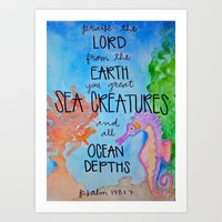 scripture Art Prints featuring Sea Horse (Scripture) by HollyJonesEcu
