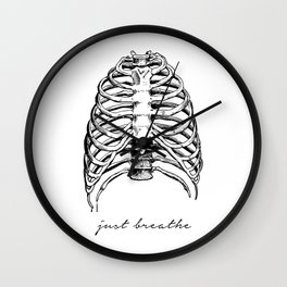Just Breathe: a minimal, sketched piece in black and white Wall Clock