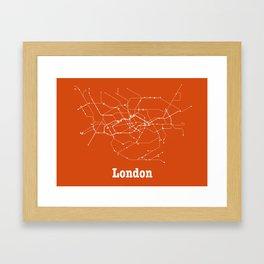 London Subway Poster - Orange Framed Art Print