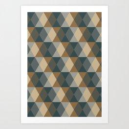 Caffeination Geometric Hexagonal Repeat Pattern Art Print