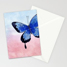 Blue Butterfly watercolor painting Stationery Cards