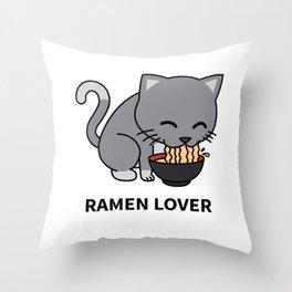 Ramen Cat Throw Pillow