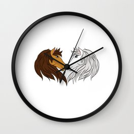 Simple Horsing Tee For Horse Lovers With Illustration Of 2 Horses Making Heart T-shirt Design  Wall Clock