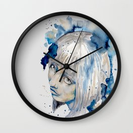 Nieves watercolor portrait by carographic Wall Clock