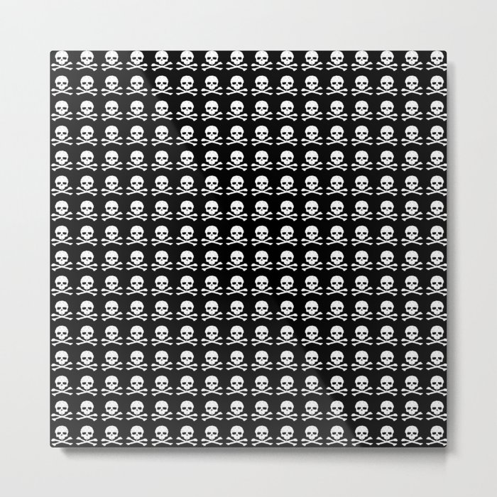 Skull and X-Bones in Black and White (Smaller) Metal Print