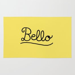 Funny Bello Hello Typography in Yellow and Black Rug