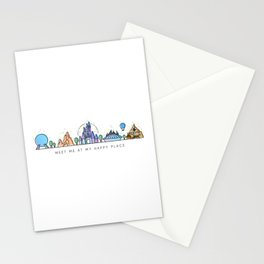 Meet me at my Happy Place Theme Park Skyline Stationery Cards