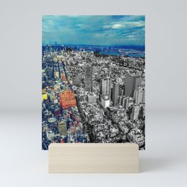 New York City Skyline Color/Black & White Mashup Mini Art Print