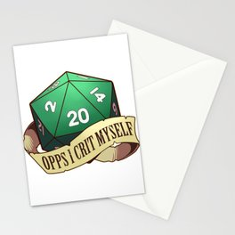 Funny Tabletop Dungeons Gift Opps I Crit Myself RPG D20 Dice Print Stationery Cards
