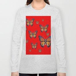 RED ART MONARCH BUTTERFLIES Long Sleeve T-shirt