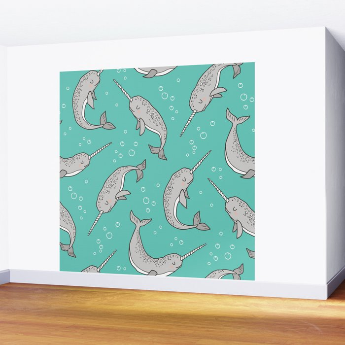 Narwhal  Grey on Green Mint Wall Mural