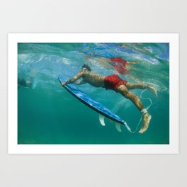 surfer duck dive Art Print