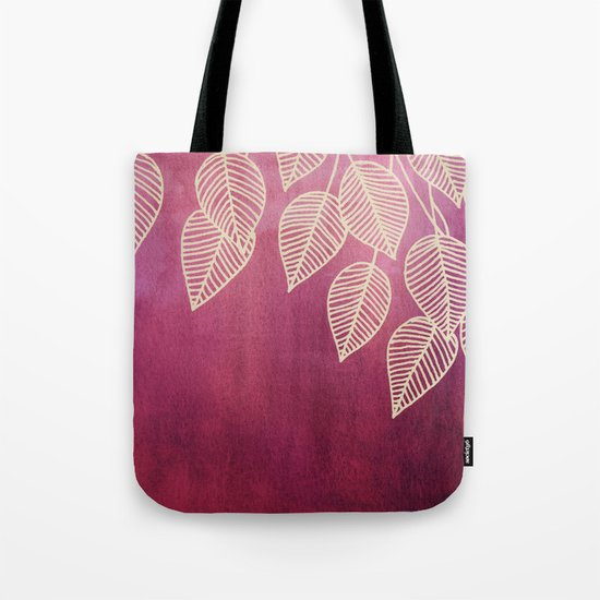 Magenta Garden - watercolor & ink leaves Tote Bag
