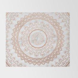 Mandala - rose gold and white marble Throw Blanket