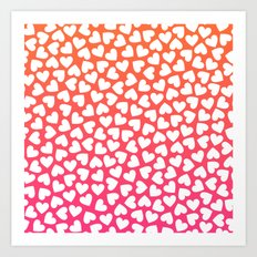 White Hearts On Pink-Orange Art Print