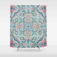 bedding Shower Curtains featuring Gypsy Floral in Red & Blue by micklyn