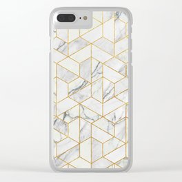 Marble hexagonal pattern Clear iPhone Case