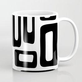 Retro Mid Century Modern Abstract Pattern 336 Black and White Coffee Mug