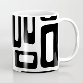 Retro Mid Century Modern Abstract Pattern 336 Black and White Coffee Mug