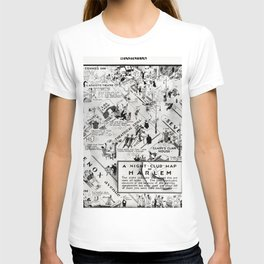 1932 Night-Club Map of Harlem, NY Centerfold from Manhattan Weekly by Elmer Simms Campbell T-shirt