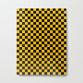 Black and Amber Orange Checkerboard Metal Print