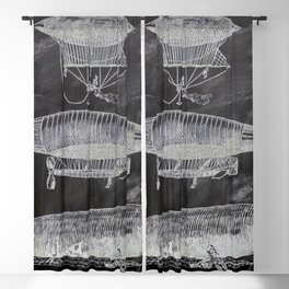 chalkboard art victorian steampunk hot air balloon airship patent print Blackout Curtain