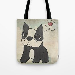 Hand Drawn and Quirky Boston Terrier San Jones Illustration Tote Bag