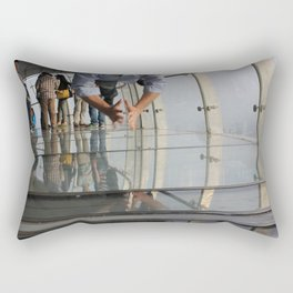 Not Afraid of the Glass Floor in Oriental Pearl Tower Rectangular Pillow