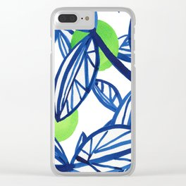 Blue and lime green abstract apple tree Clear iPhone Case