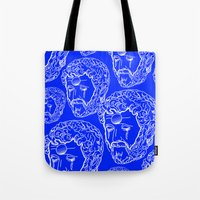 greek Tote Bags featuring Greek Cry by Bombarda