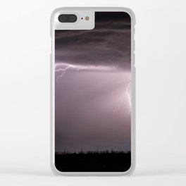Summer Lightning Storm On The Prairie VI - Nature Landscape Clear iPhone Case