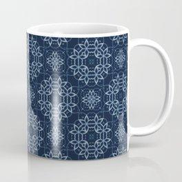 Traditional Indigo Blue Japanese Lace Quilt Coffee Mug