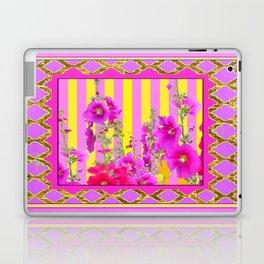 Decorative Pink-Yellows Hollyhock Garden Design Laptop & iPad Skin