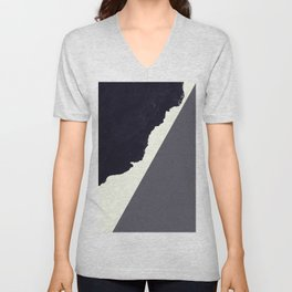Contemporary Minimalistic Black and White Art Unisex V-Neck