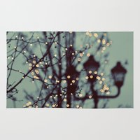 bokeh Area & Throw Rugs featuring Winter Lights by elle moss