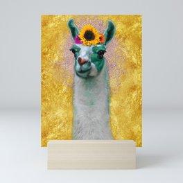 Flower Power Llama Mini Art Print