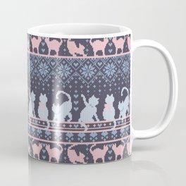 Fair Isle Knitting Cats Love // purple white and pink kitties Coffee Mug