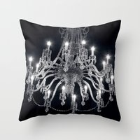 chandelier Throw Pillows featuring Chandelier by Ink and Paint Studio