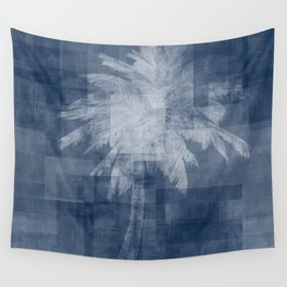 Modern Palm Tree |  Blue + White Wall Tapestry
