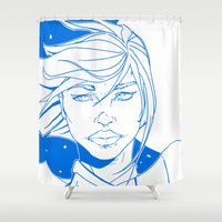 supergirl Shower Curtains featuring New 52 Supergirl by Jeremy Gonzalez