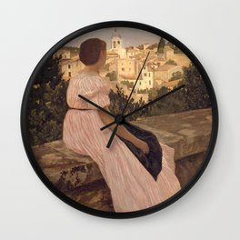 Frederic Bazille - La Robe rose Wall Clock