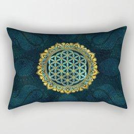 Flower of life gold an blue texture  glass Rectangular Pillow