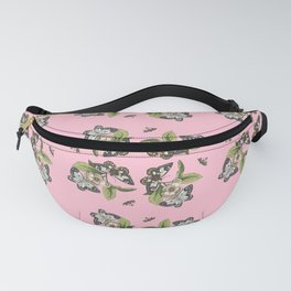 Butterflies and Camellias on Pink Pattern Fanny Pack