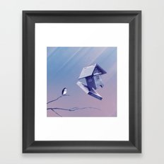 Freezing Bird...house Framed Art Print