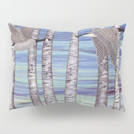 Canada geese, hedgehogs, and autumn birch trees Pillow Sham