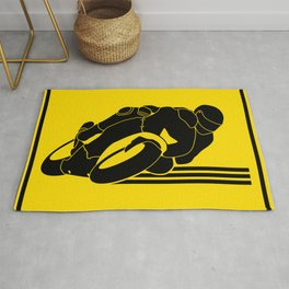 High Speed Motorcycle Racer Yellow Caution Rug