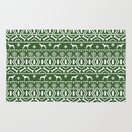 Greyhound fair isle christmas holidays pattern green and white dog gifts Rug