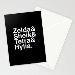 Zelda & Sheik & Tetra & Hylia helvetica list Stationery Cards
