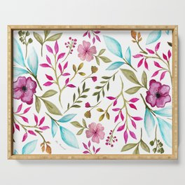 Watercolor Botanical Floral Leaves by Ms. Parasol Serving Tray