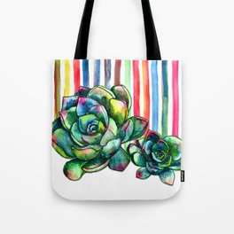 Rainbow Succulents - pencil & watercolor illustration Tote Bag